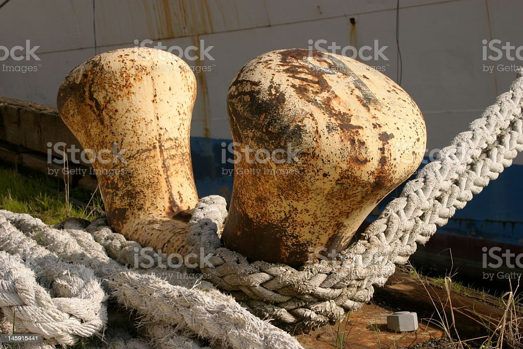 Rusted ship mooring cleats royalty-free stock photo