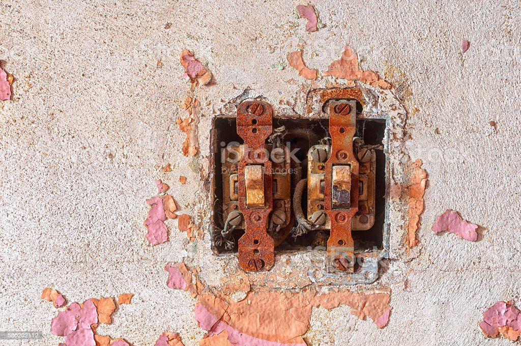 Rusted switches stock photo