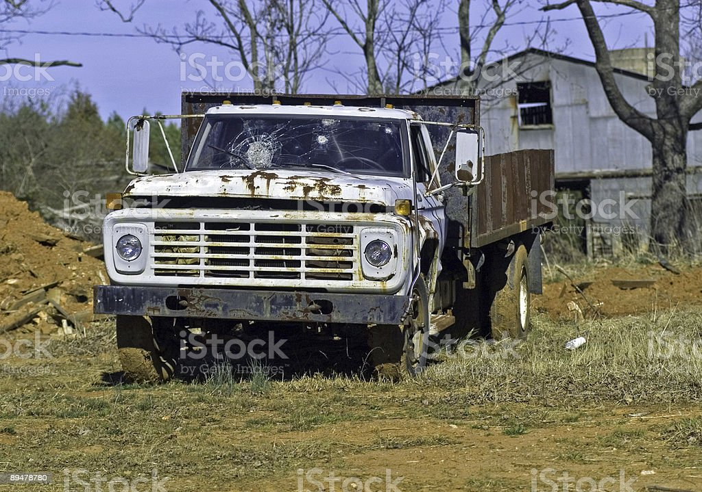 Rusted Truck in Front of Barn royalty-free stock photo