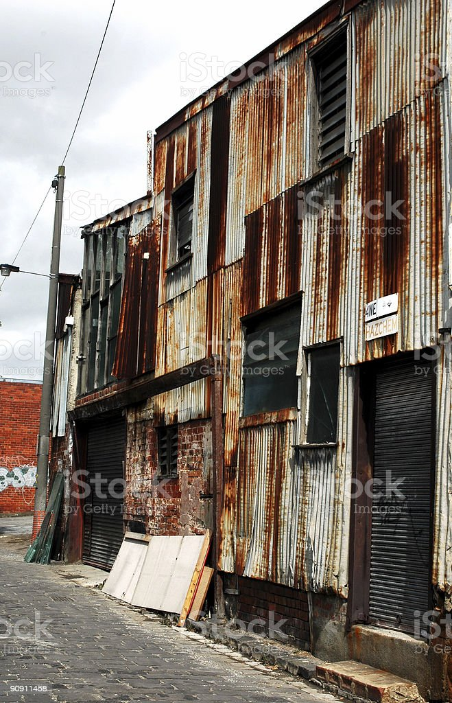 rusted warehouse facade royalty-free stock photo