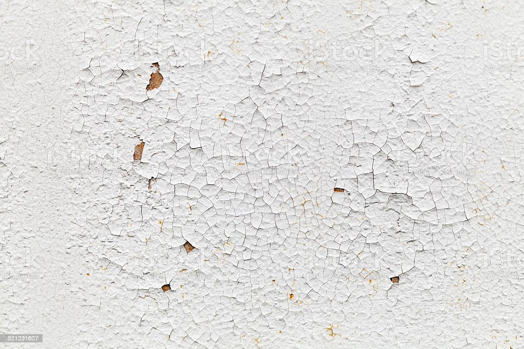 Rusted white metal wall with cracks, background texture stock photo