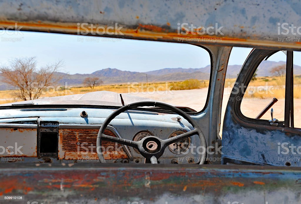 Rusted wreck in the Namib desert stock photo