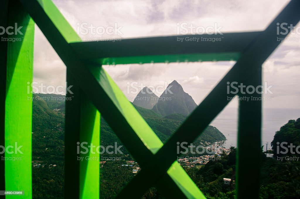 rustic and exotic travel view of pitons stock photo