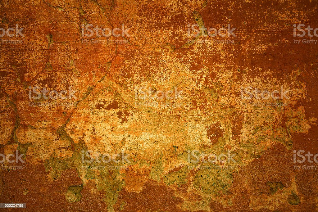 Rustic background. Orange - red bright wall with cracks stock photo