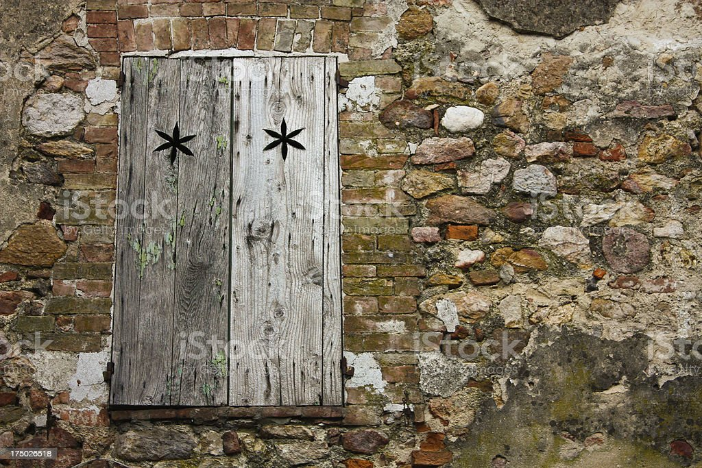Rustic background. Window and stones royalty-free stock photo