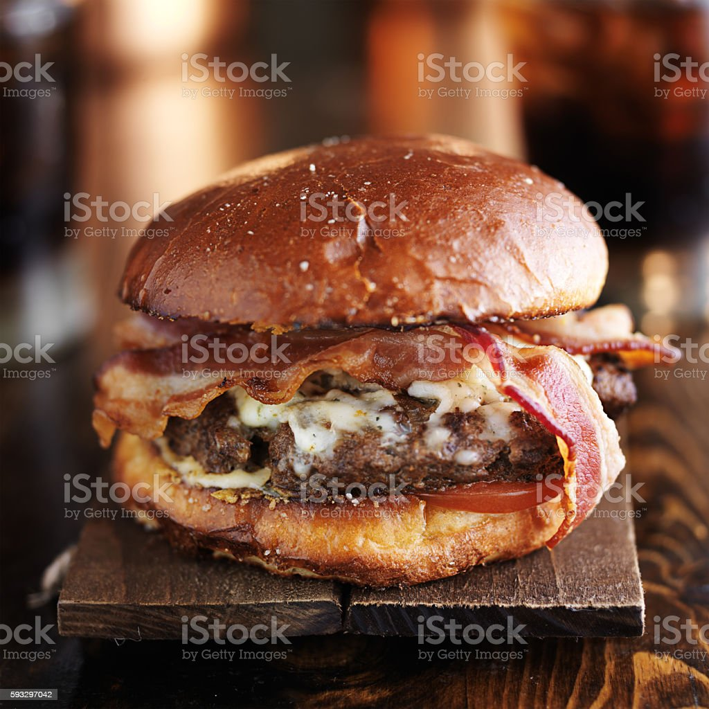 rustic bacon cheese burger stock photo