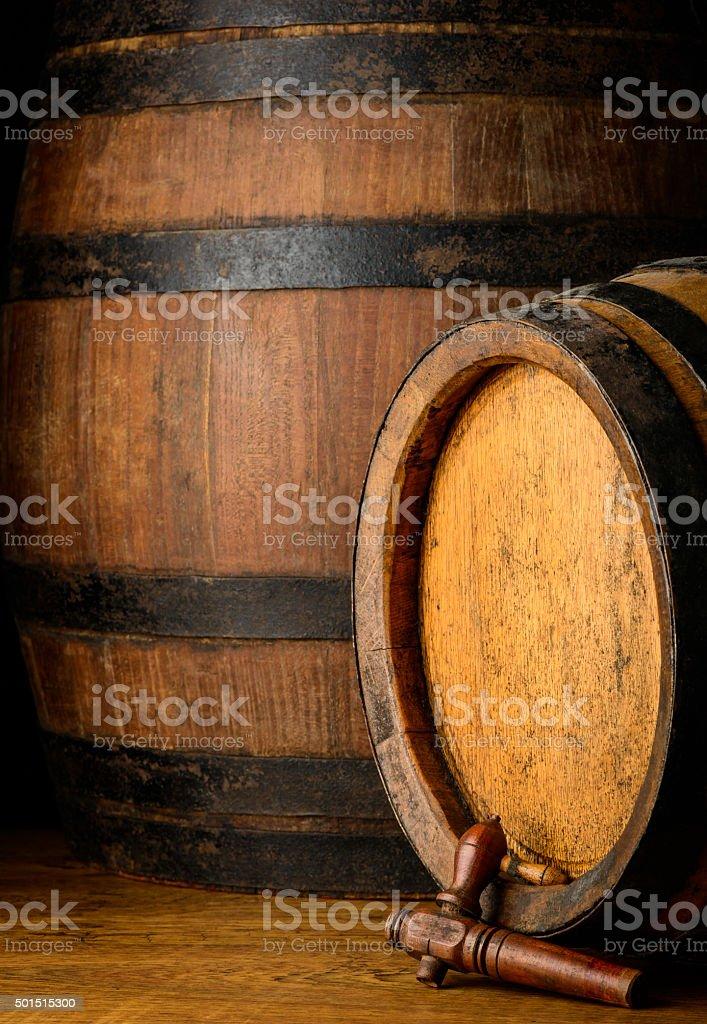 Rustic barrels stock photo