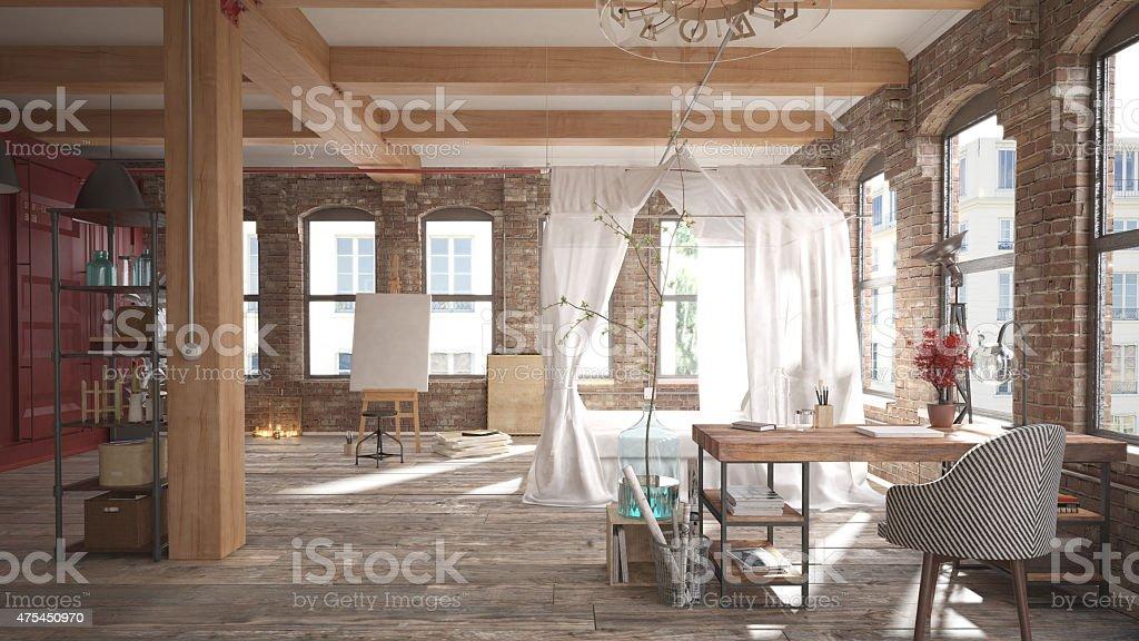 Rustic bedroom loft stock photo