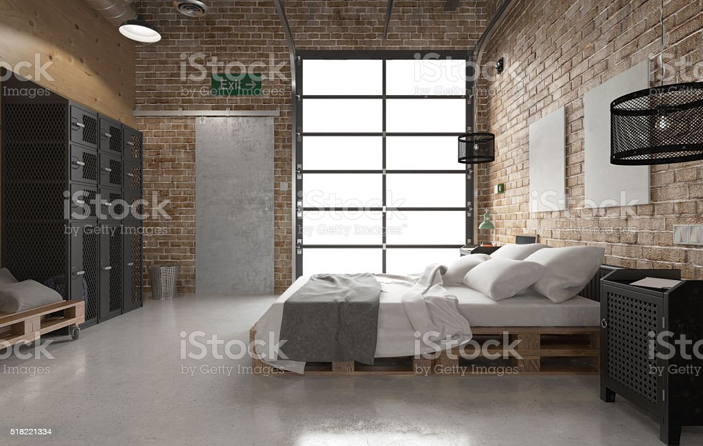 Rustic bedroom with pallets stock photo