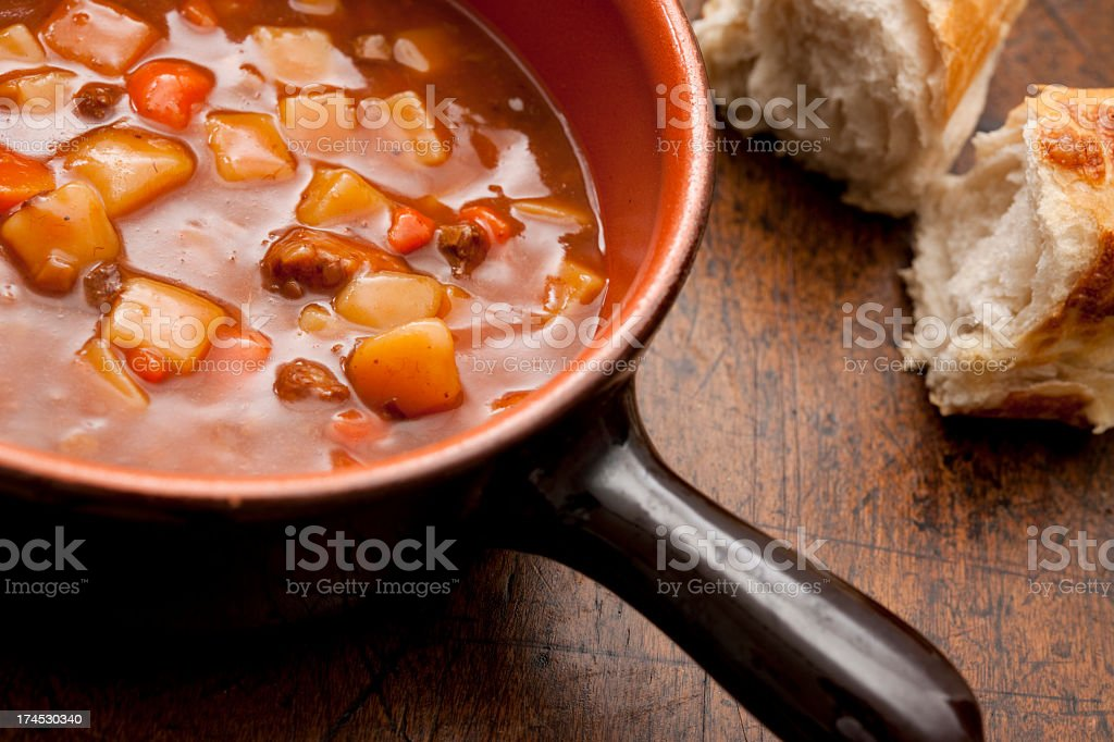 rustic beef and vegetable soup stock photo