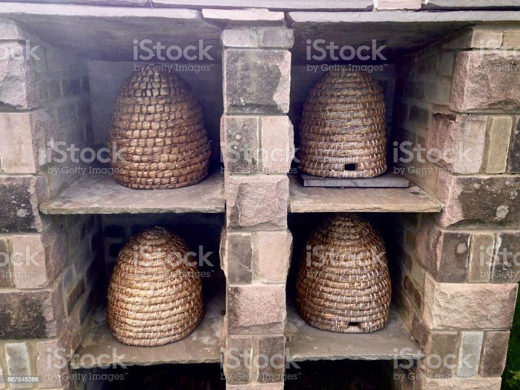 Rustic Beehives, Ripon, North Yorkshire, England stock photo