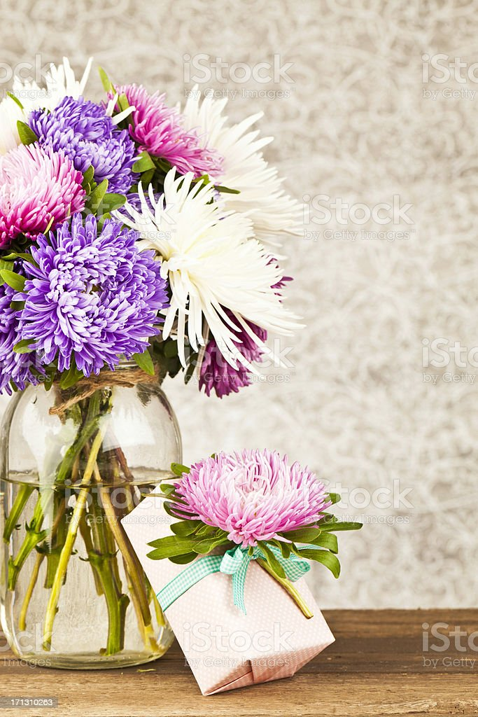 Rustic Birthday Flowers and Gift royalty-free stock photo