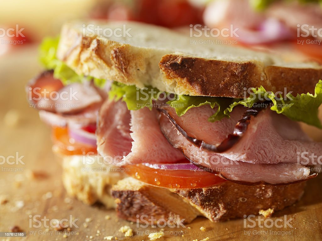 Rustic Black Forest Ham Sandwich stock photo