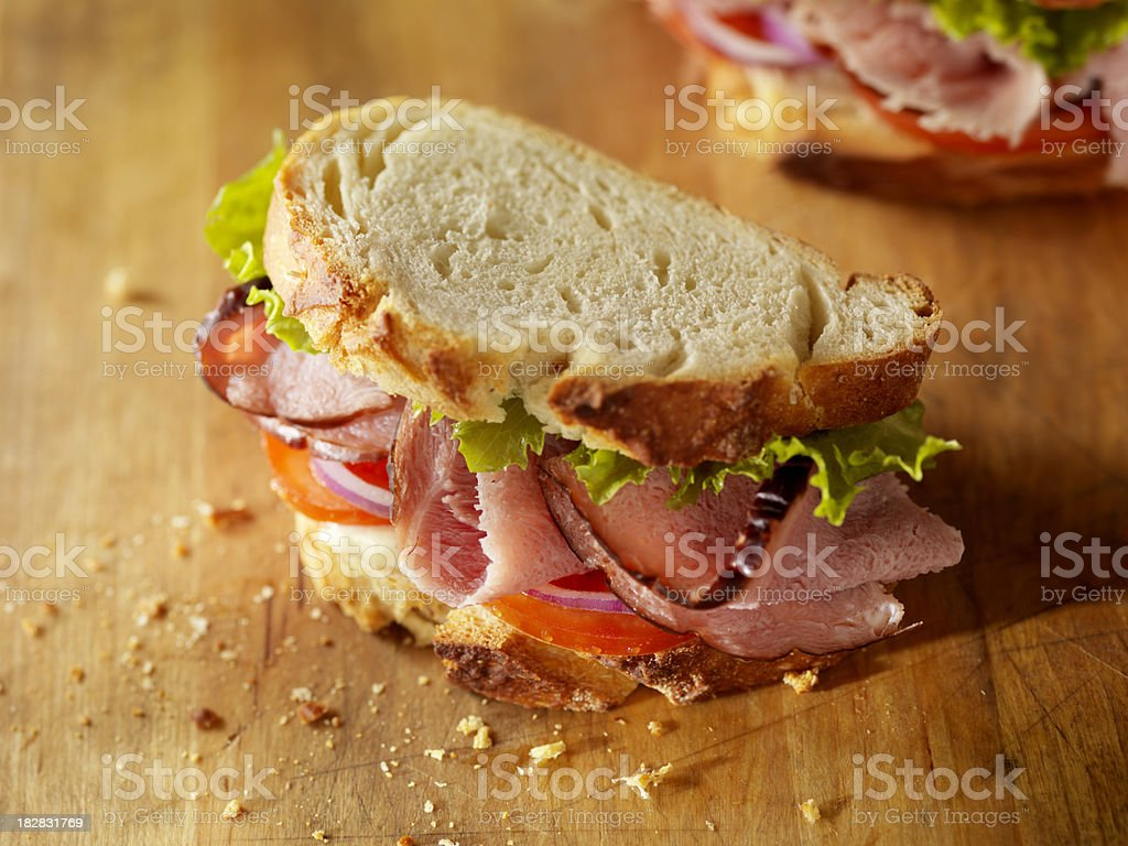 Rustic Black Forest Ham Sandwich stock photo