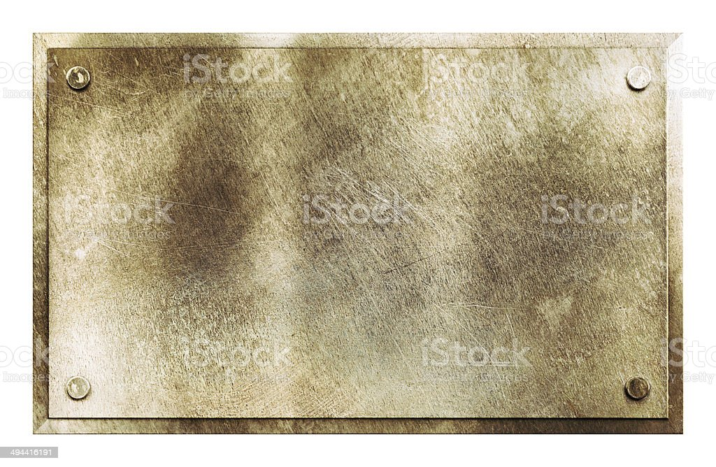 Rustic brass metal sign texture stock photo