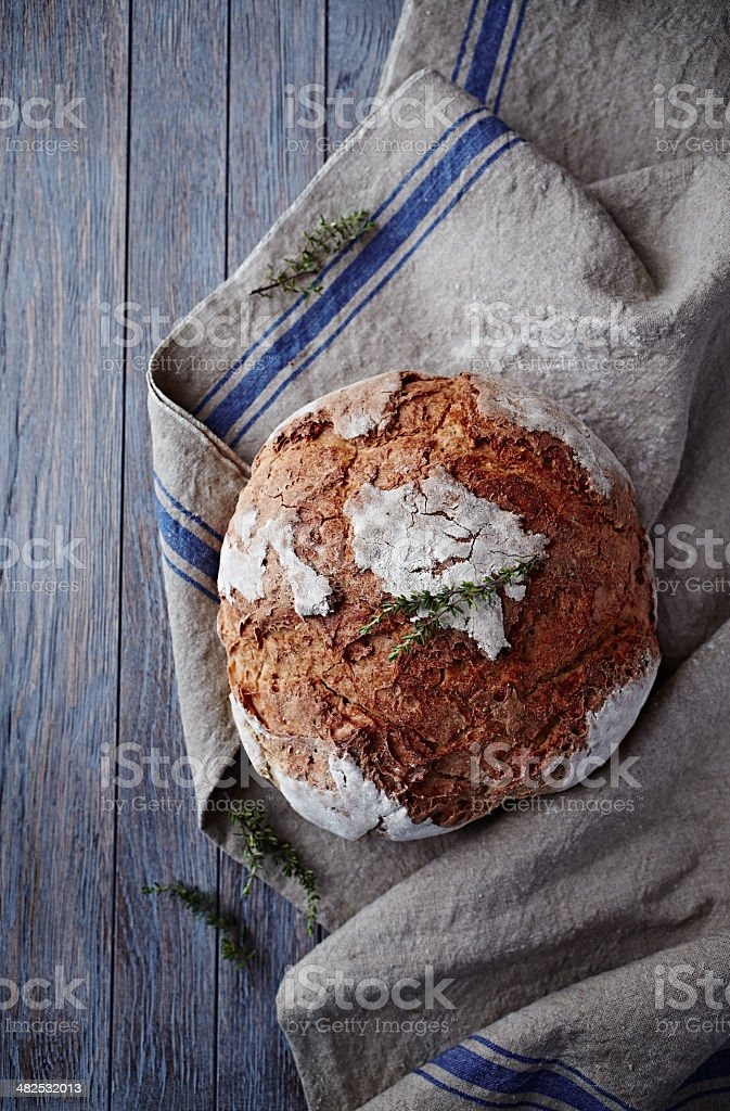 Rustic Bread on a Linen Cloth stock photo