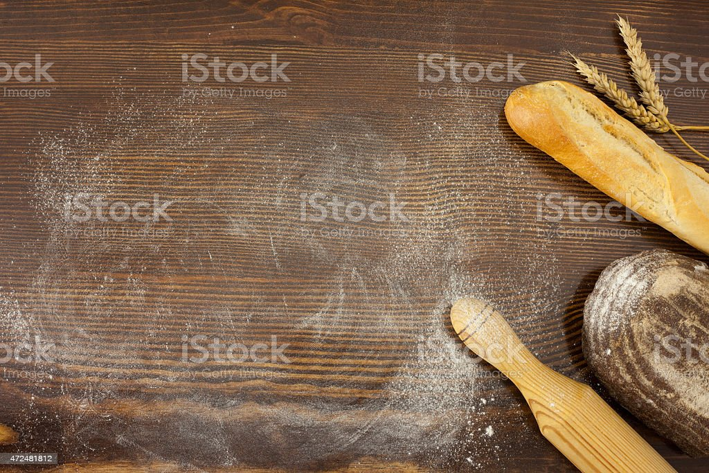 Rustic breads, wheat and flour stock photo