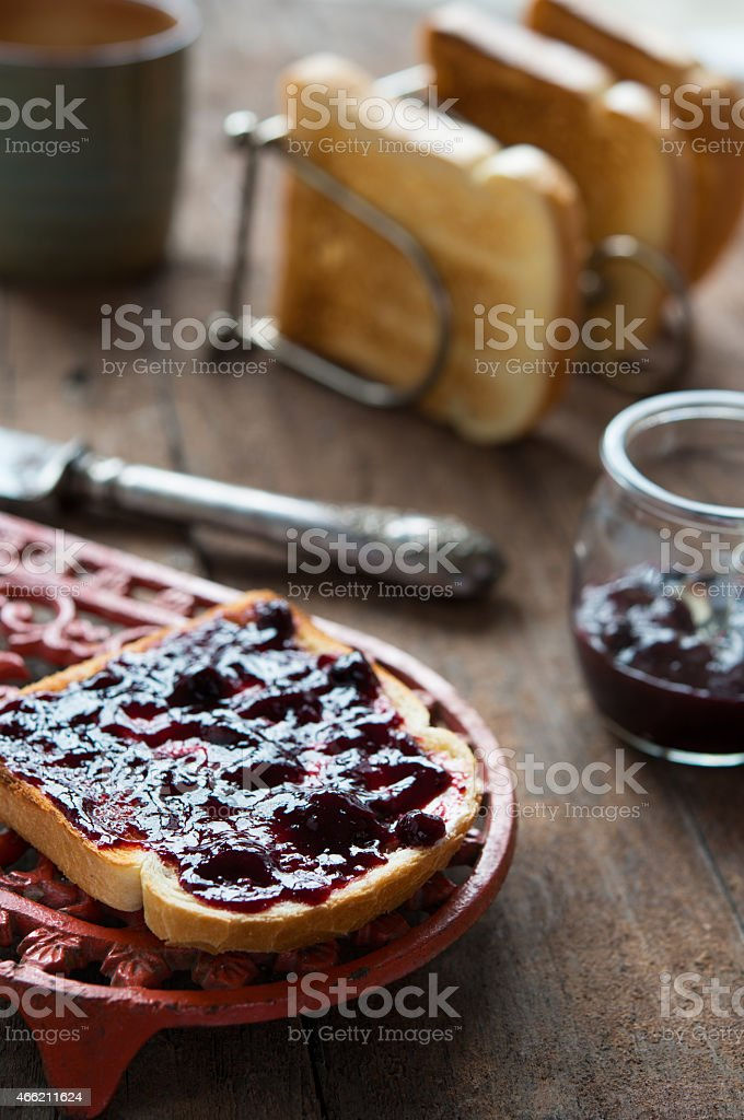 Rustic breakfast with rusks stock photo
