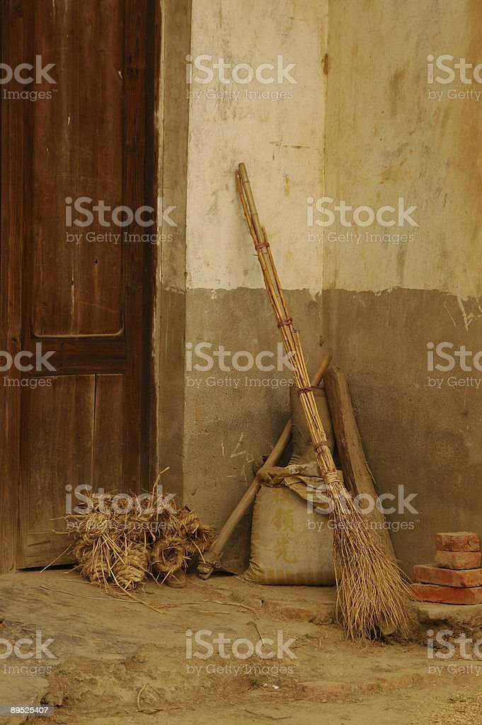 Rustic broom royalty-free stock photo
