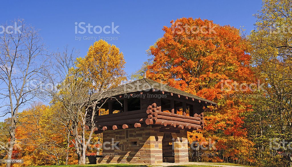 Rustic Building in a rural Park stock photo