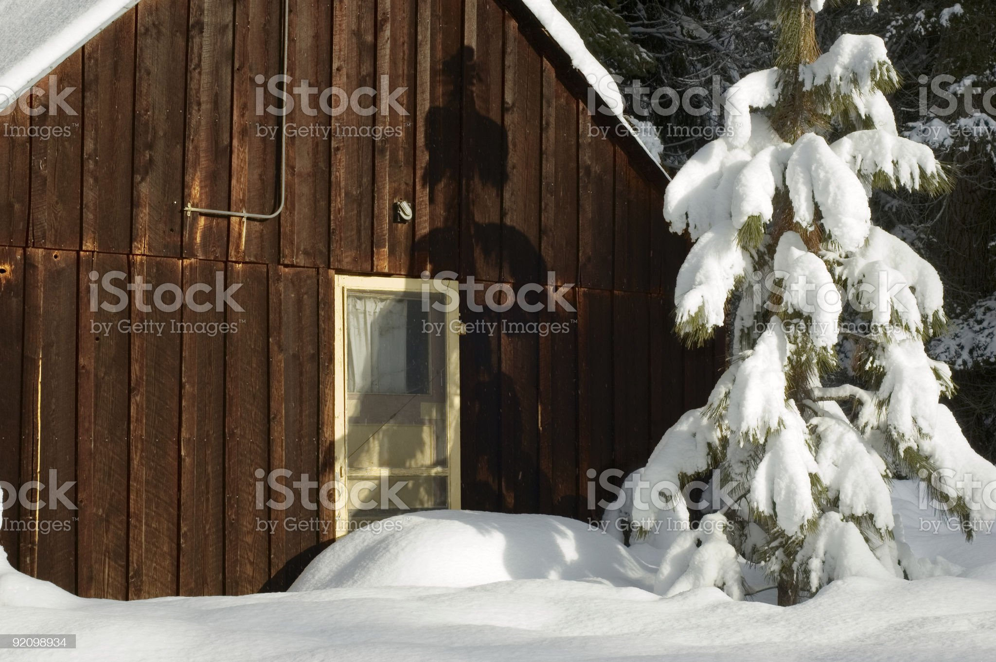 Rustic Cabin in the Snow royalty-free stock photo