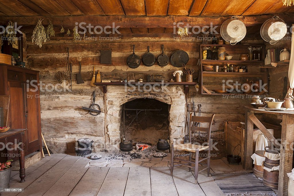 Rustic Cabin Interior stock photo