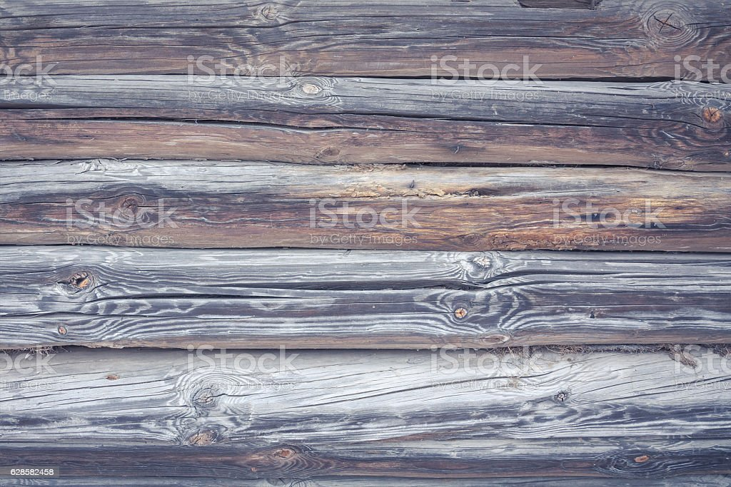 Rustic cabin wood wall background in vintage countryside style stock photo