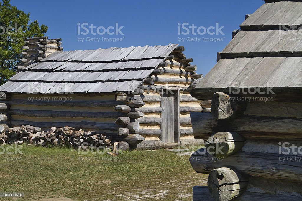 Rustic Cabins at Valley Forge National Park stock photo