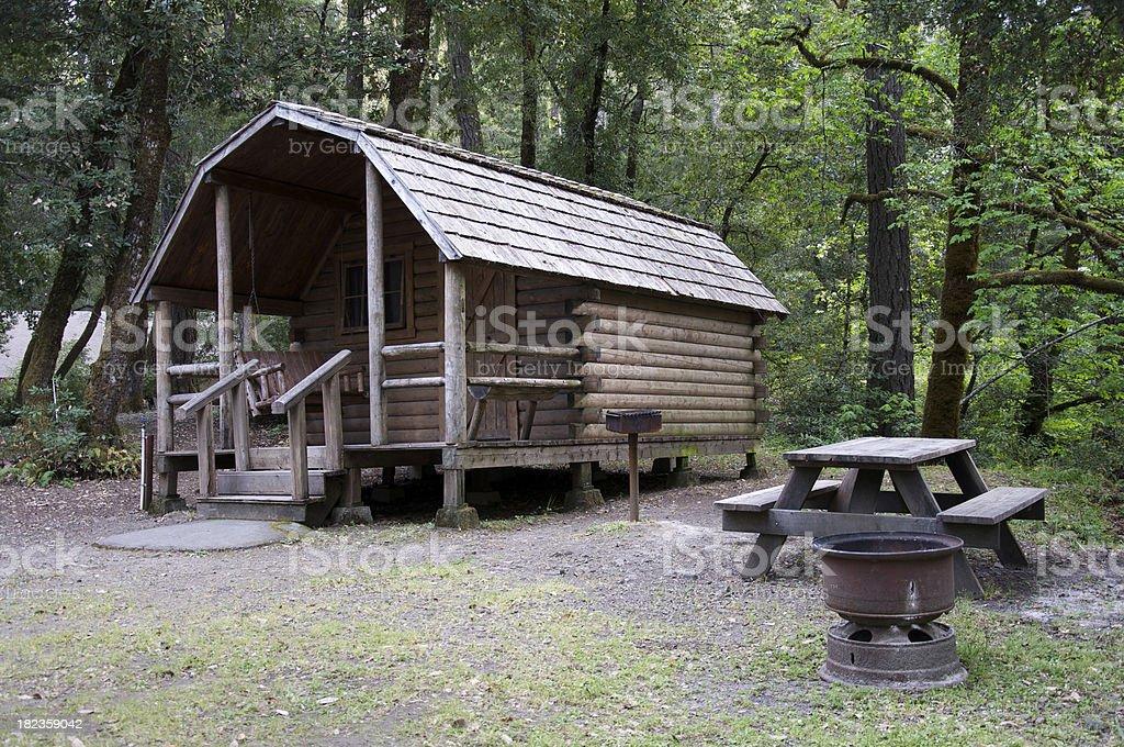 Rustic camp cabin stock photo