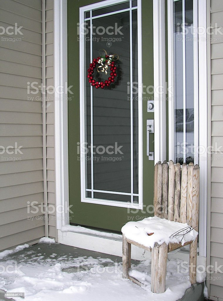 rustic chair in snow royalty-free stock photo