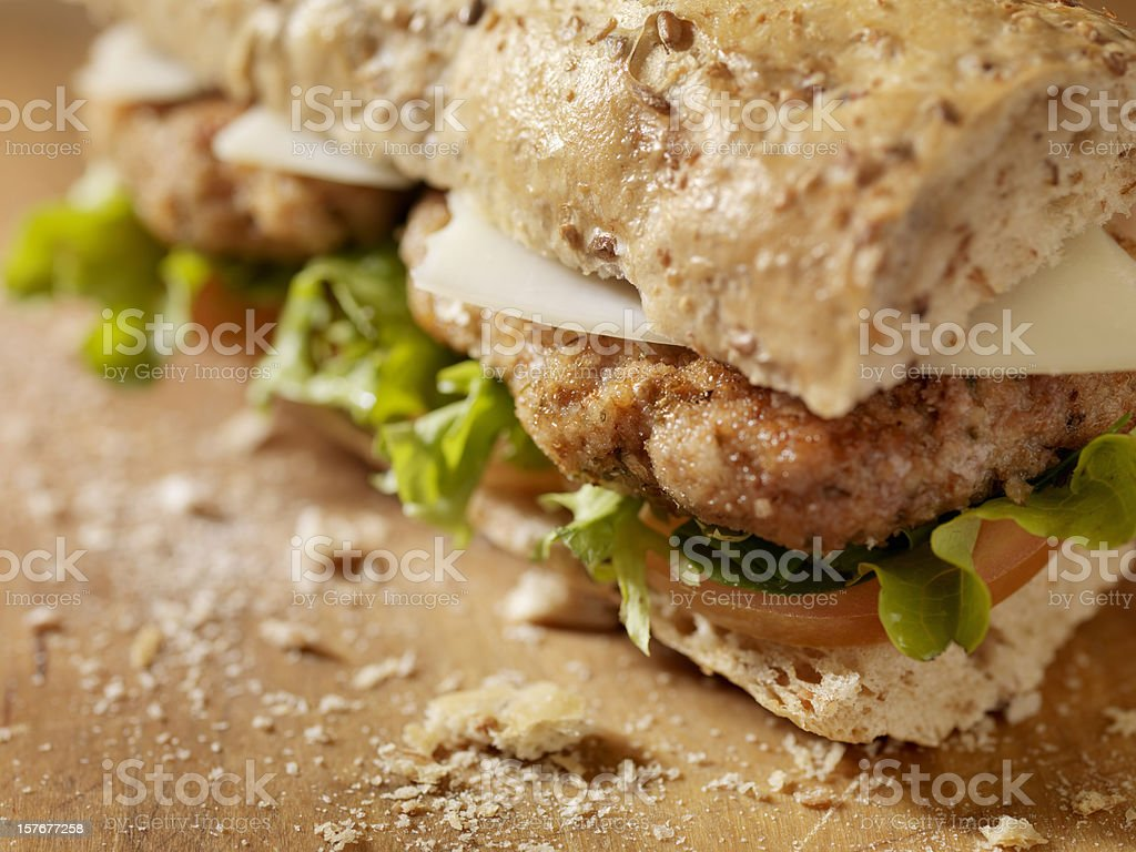 Rustic Chicken Cutlet Sandwich stock photo