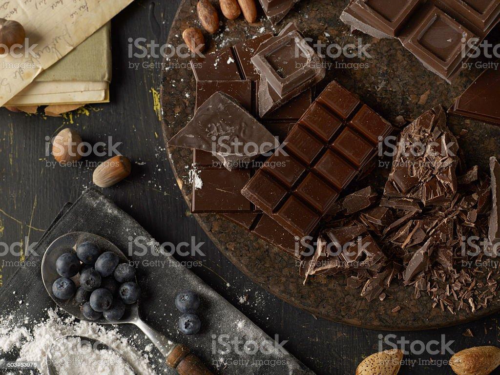 Rustic chocolate stock photo
