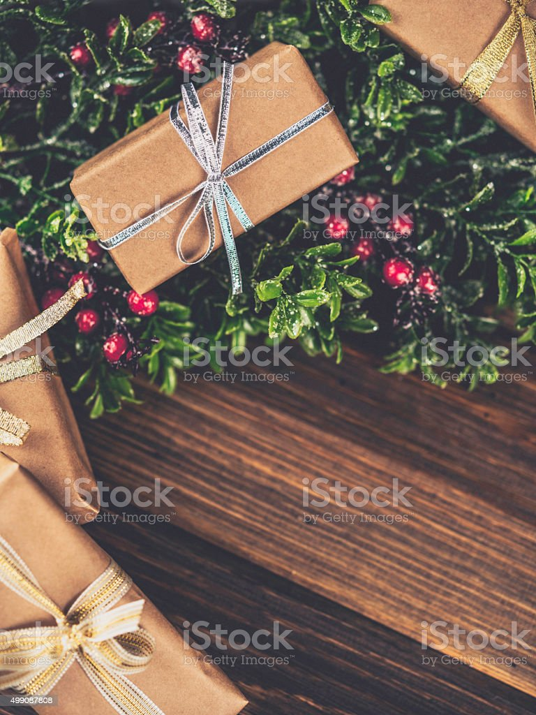 Rustic Christmas gift holiday background stock photo