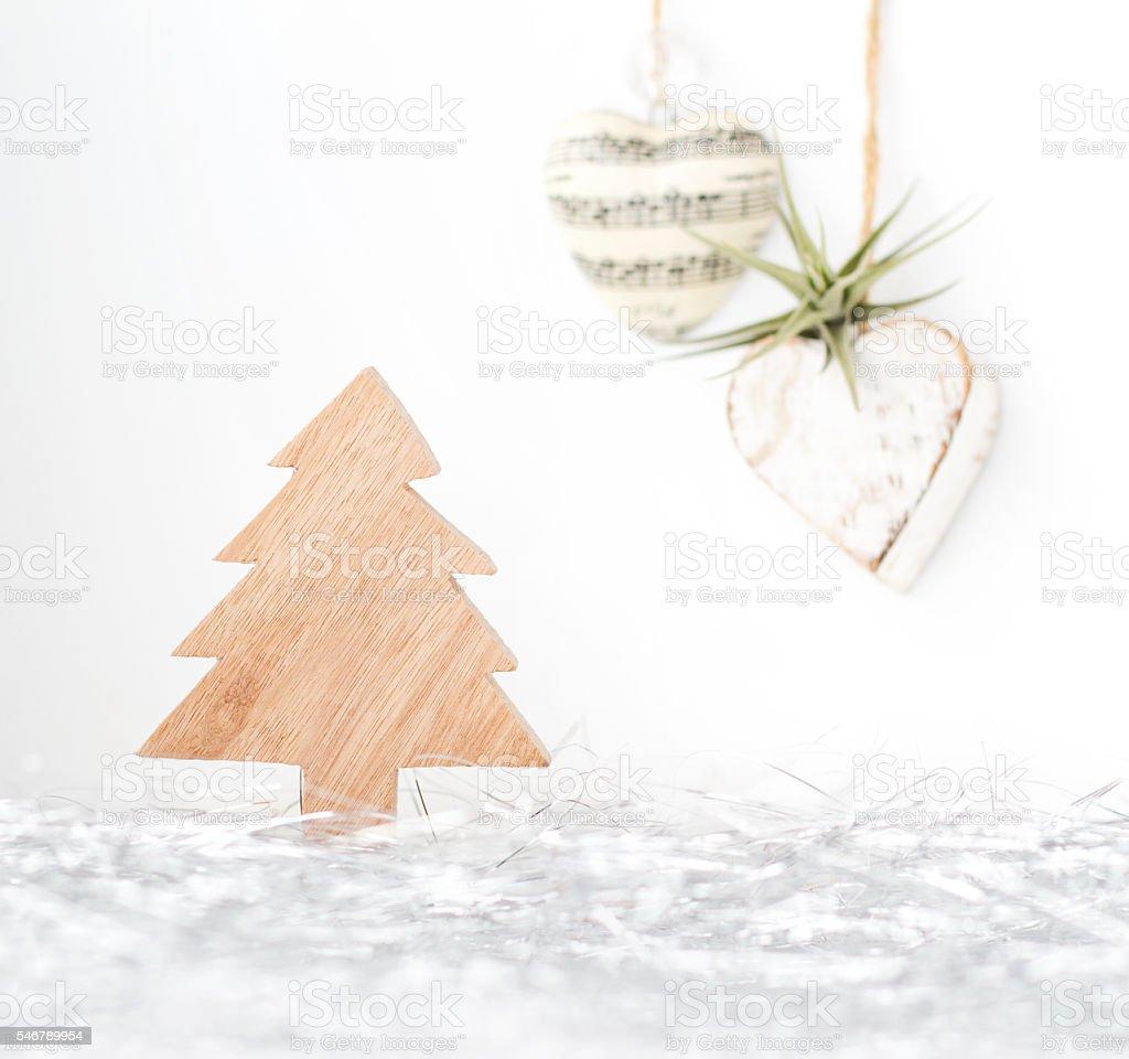 Rustic Christmas holiday decor stock photo