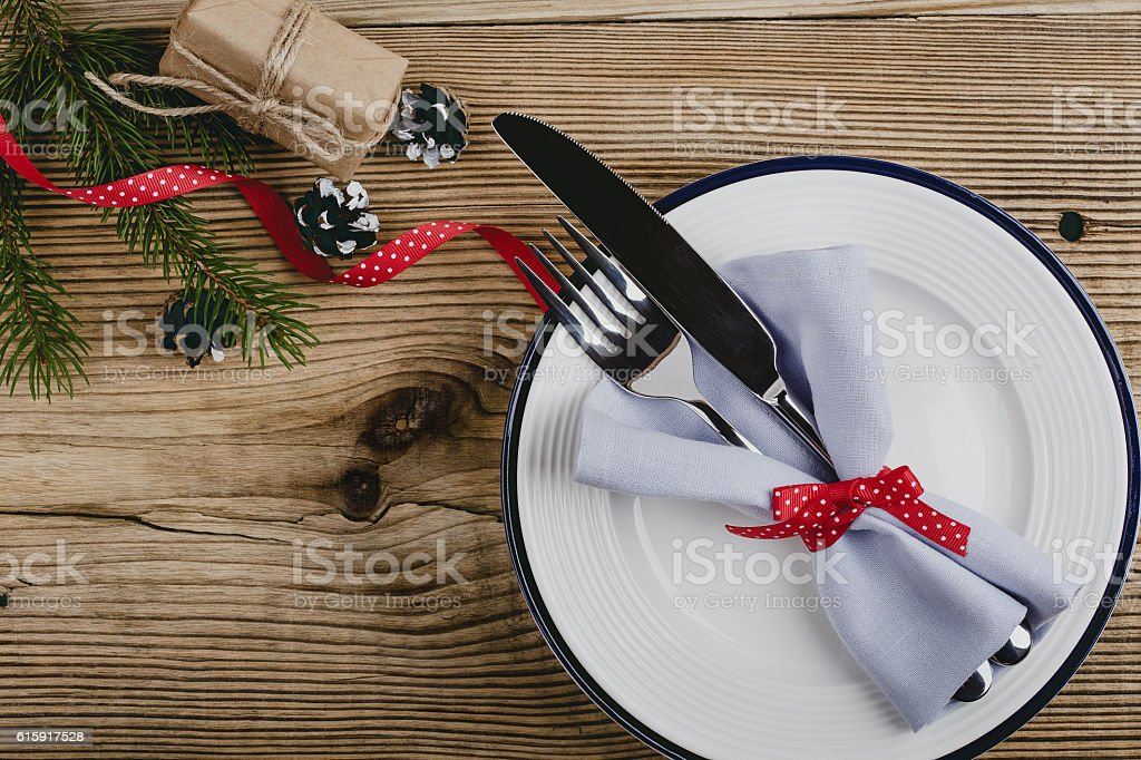 Rustic Christmas place setting,  Happy New Year decoration with stock photo