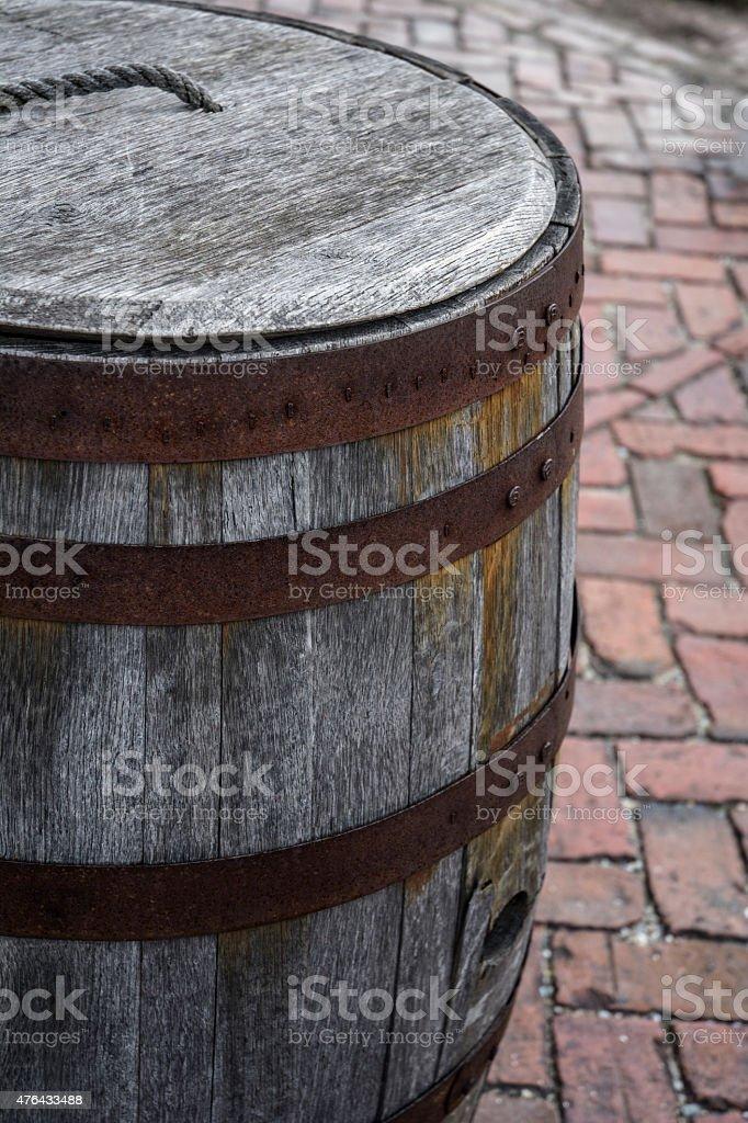 Rustic Civil War Wooden Rain Or Gunpowder Barrel stock photo