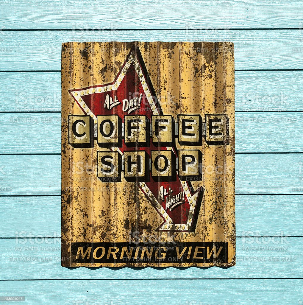 Rustic Coffee Shop Sign stock photo