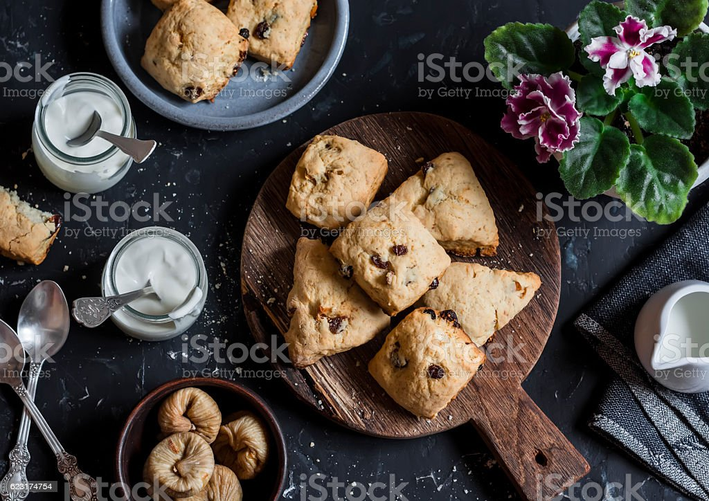 Rustic cookies with dried figs and raisins. stock photo
