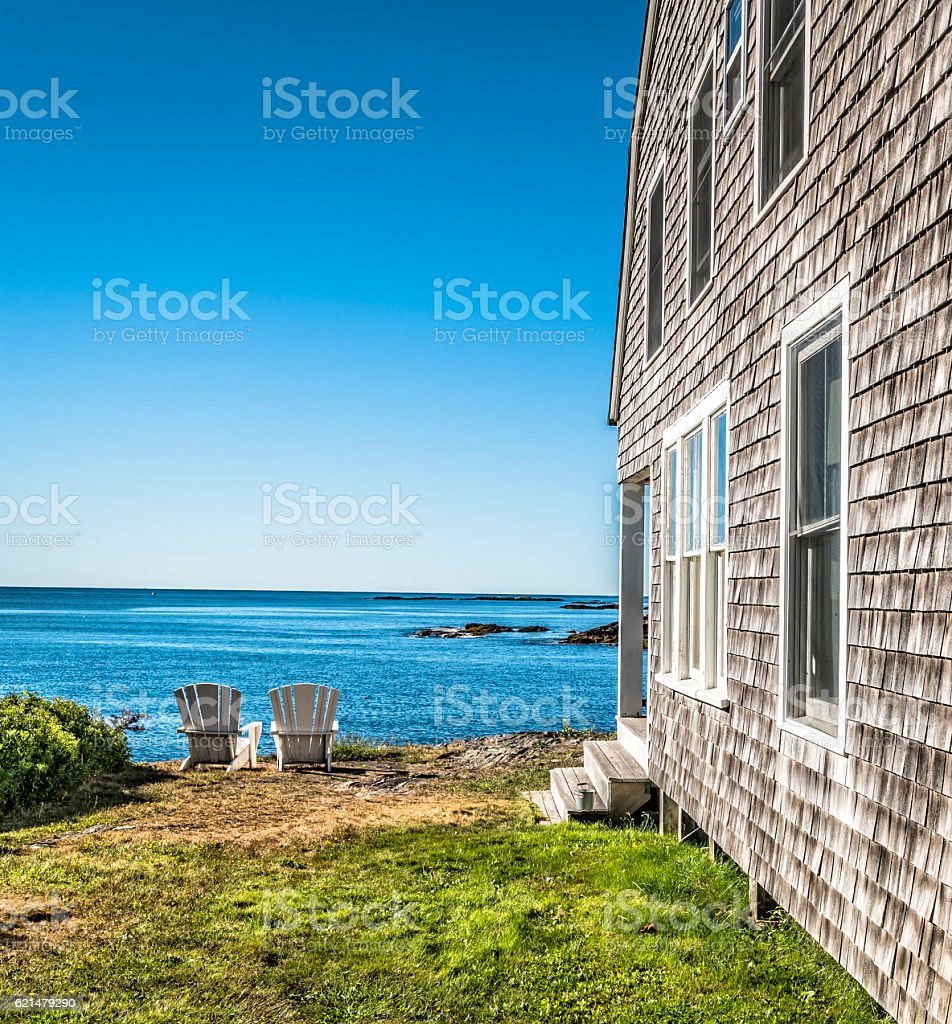 Rustic cottage in Maine with with ocean view stock photo