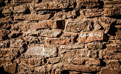 Rustic Cut Stone Wall, Textured Architectural Background, Brown,  XXXL