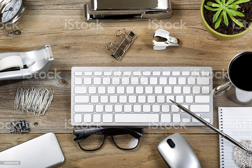 Rustic desktop with accessories for work stock photo
