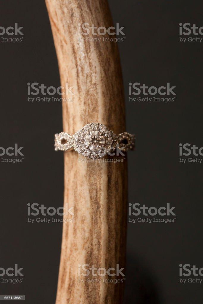 Rustic Diamond Engagement Ring stock photo