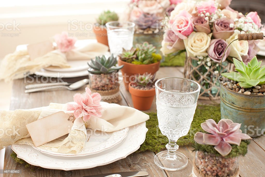 Rustic dining table, environmentally friendly place setting, succulents and roses stock photo
