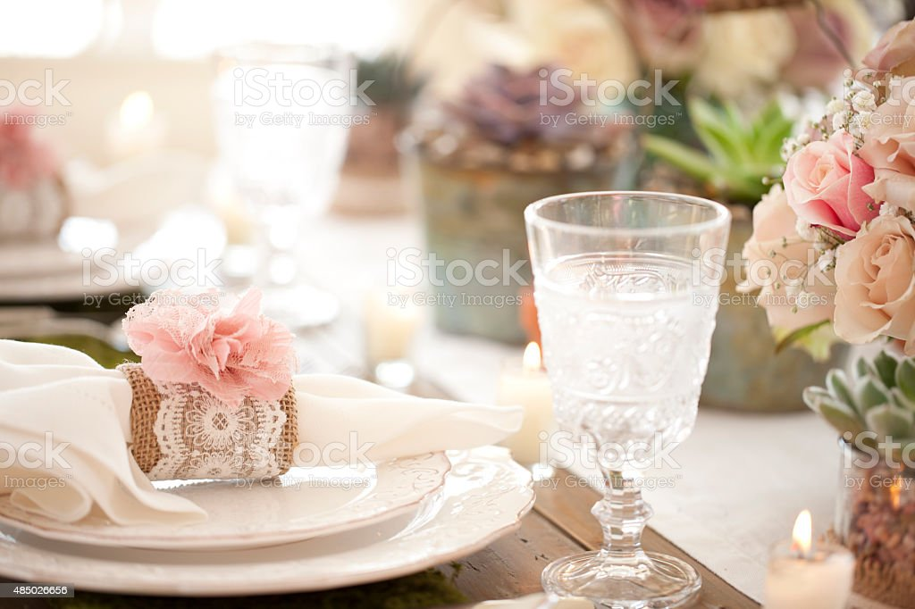 Rustic Dining Table Place Setting stock photo