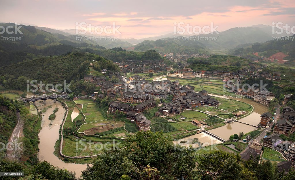 Rustic Dong village Chengyang stock photo