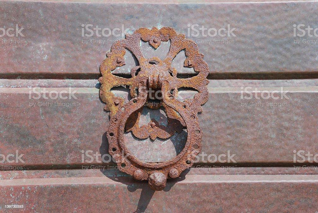 rustic door handle decoration stock photo