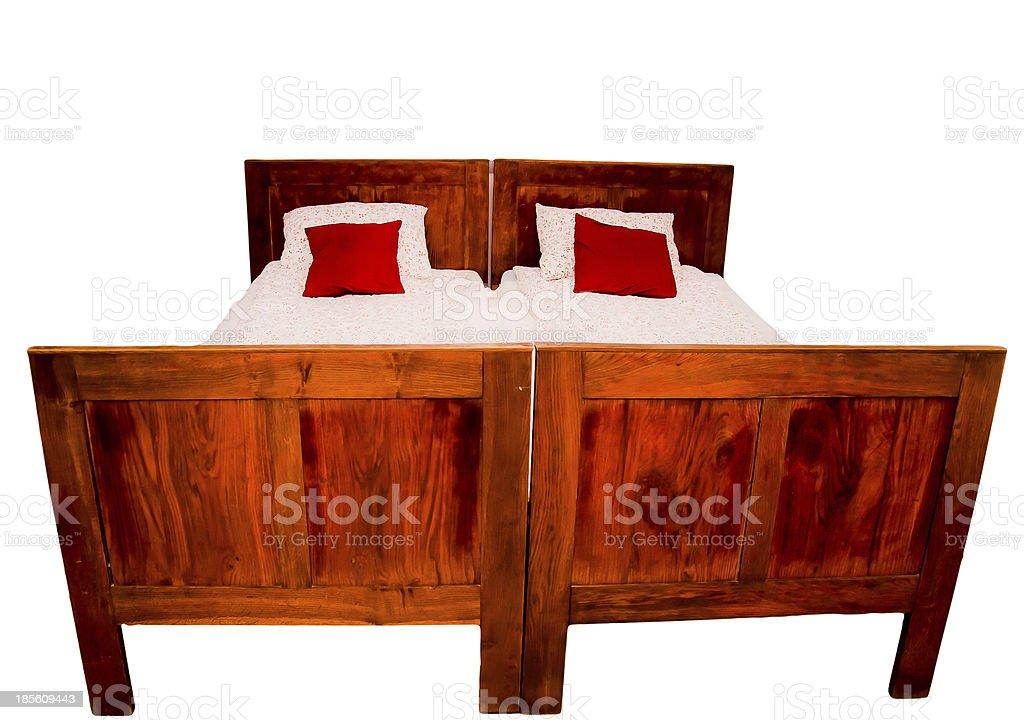 Rustikale Doppelbett-isoliert Lizenzfreies stock-foto