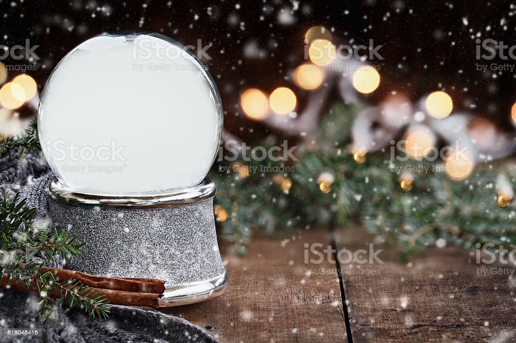Rustic Empty Silver Snow Globe with Falling Snow stock photo