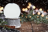 Rustic Empty Silver Snow Globe with Falling Snow
