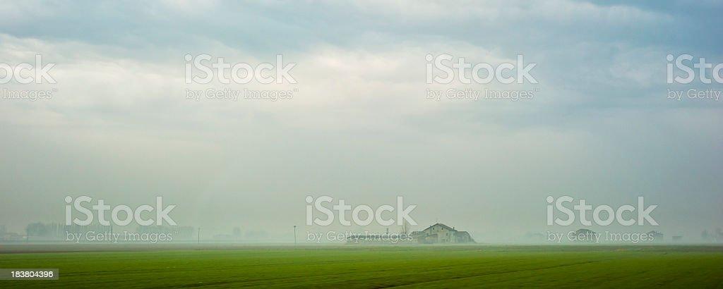 Rustic Farm In The Mist, Dawn, Pianura Padana, Italy stock photo
